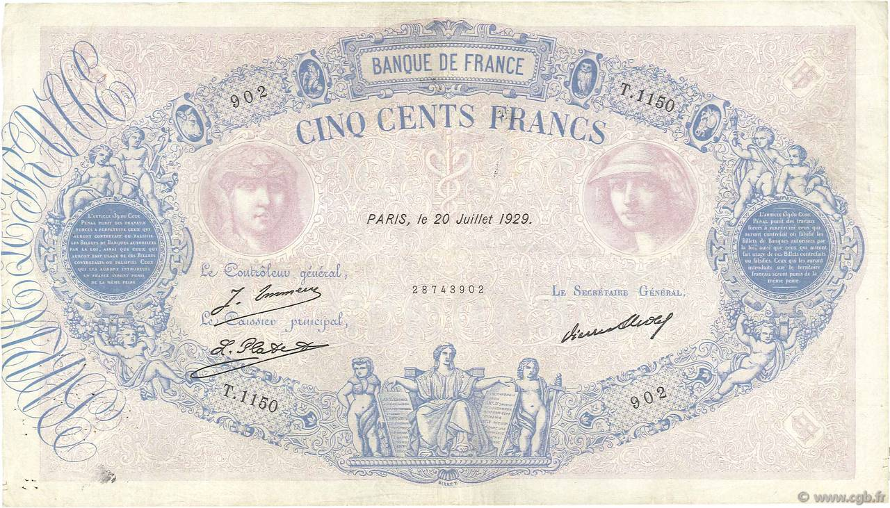 500 Francs BLEU ET ROSE FRANCE  1929 F.30.32 TB+