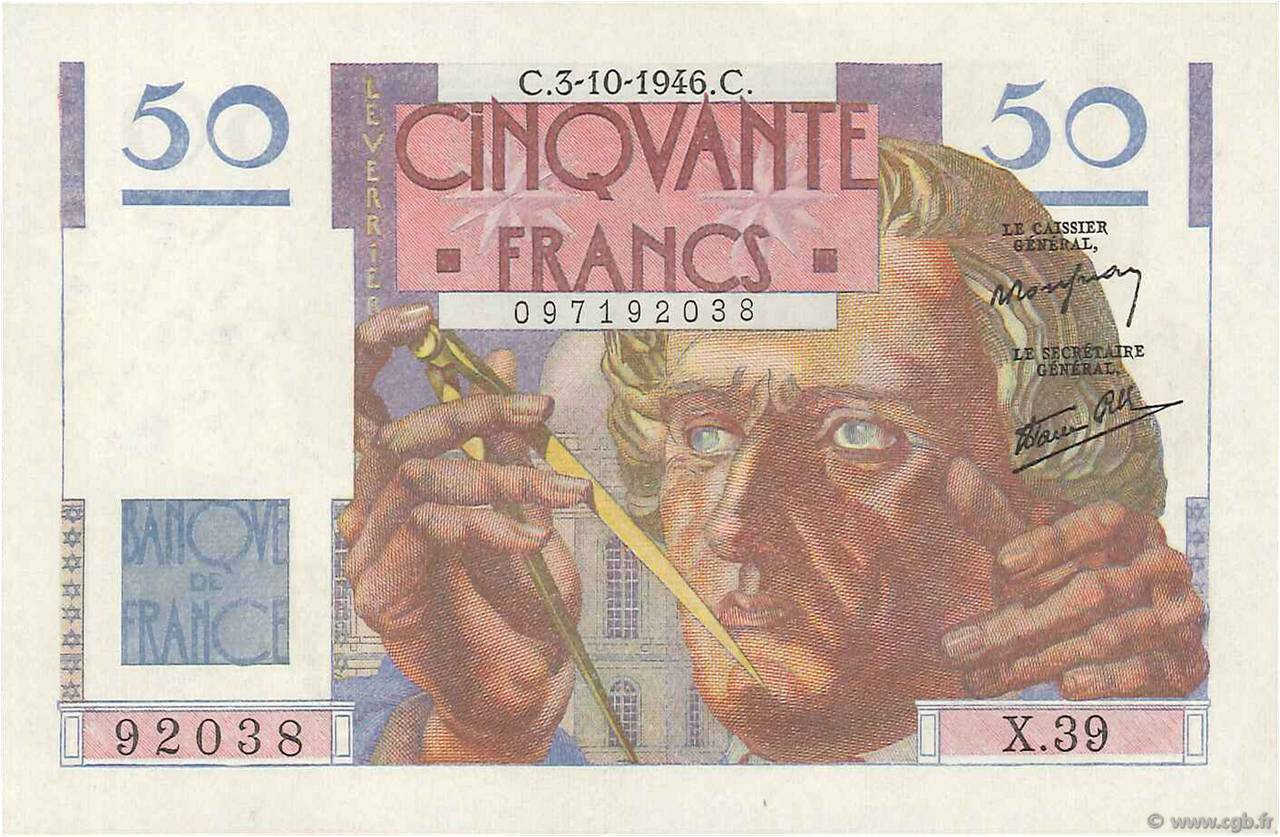 50 Francs LE VERRIER FRANCE  1946 F.20.06 pr.SUP