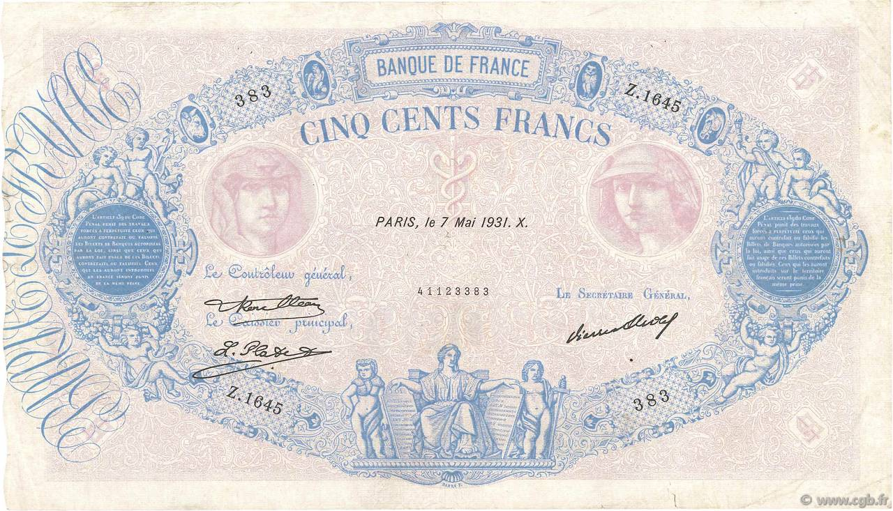500 Francs BLEU ET ROSE FRANCE  1931 F.30.34 TB+