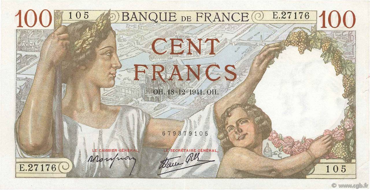 100 Francs SULLY FRANCE  1941 F.26.63 TTB+