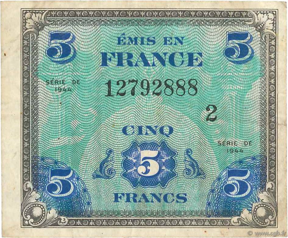 5 Francs DRAPEAU FRANCE  1944 VF.17.02 TB