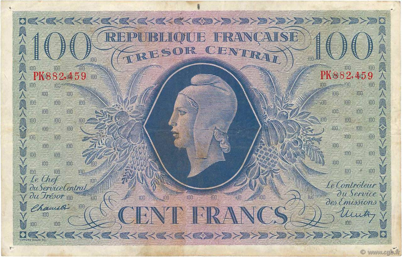 100 Francs MARIANNE FRANCE  1943 VF.06.01c TB+