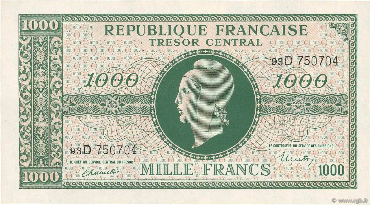 1000 Francs MARIANNE FRANCE  1945 VF.13.01 SPL