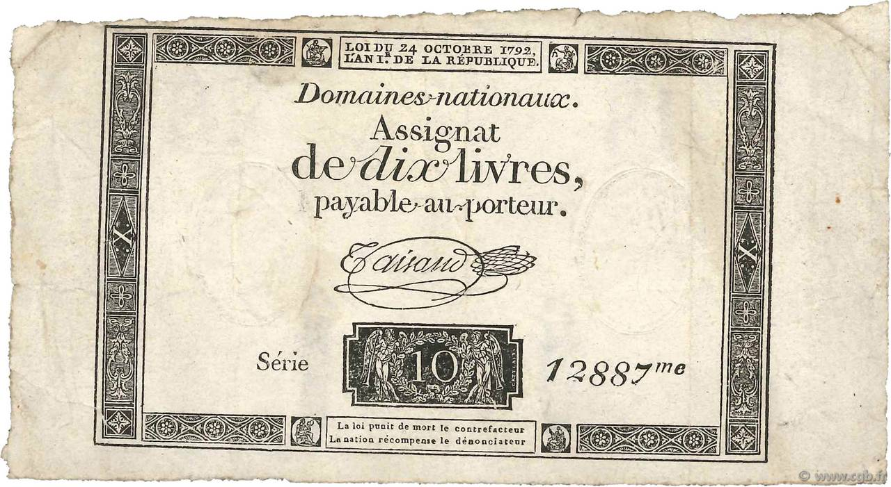 10 Livres FRANCE  1792 Ass.36c TB+