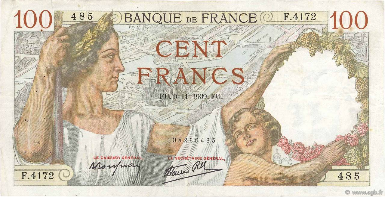 100 Francs SULLY FRANCE  1939 F.26.14 TB+