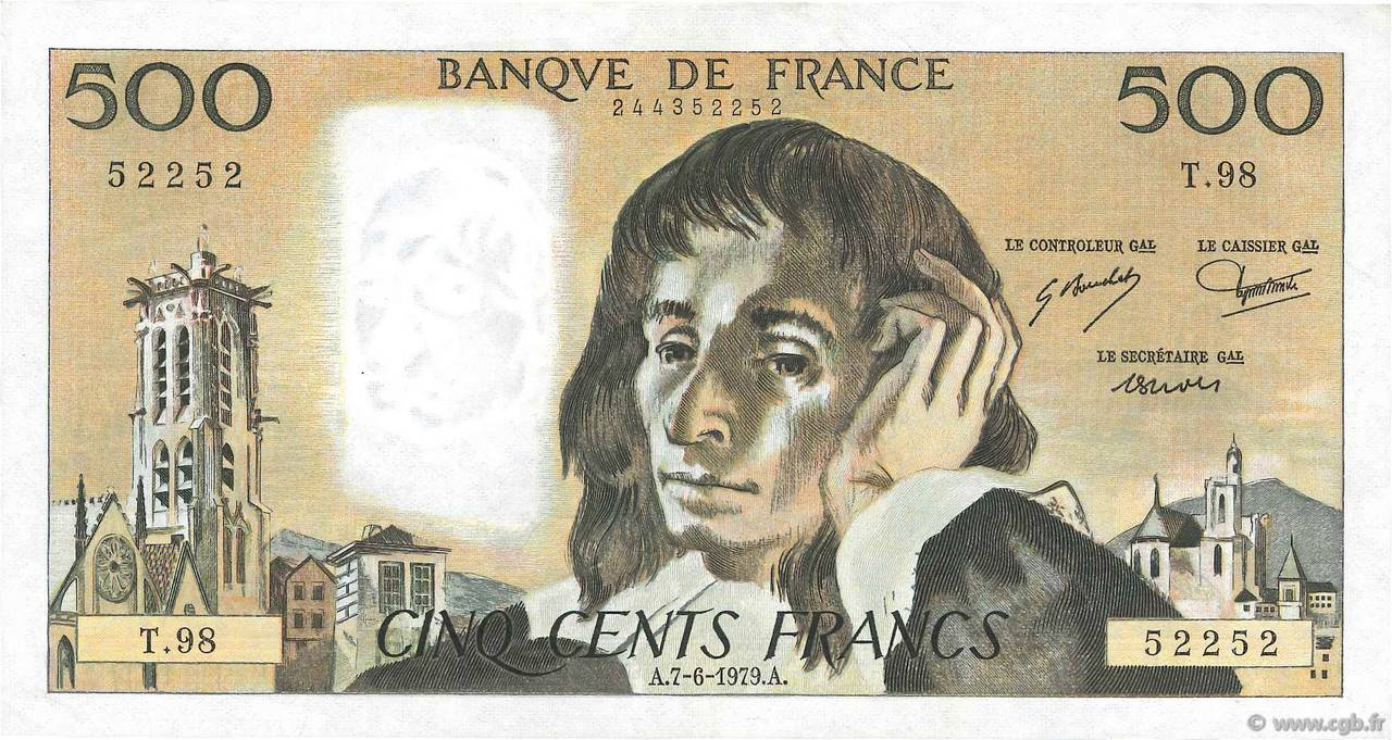 500 Francs PASCAL FRANCE  1979 F.71.19 pr.SUP
