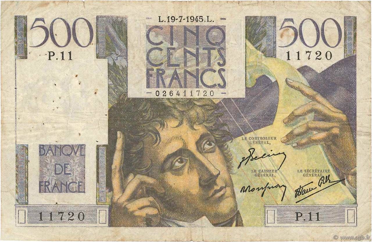 500 Francs CHATEAUBRIAND FRANCE  1945 F.34.01 pr.TB