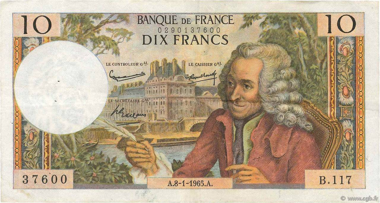 10 Francs VOLTAIRE FRANCE  1965 F.62.12 VF-