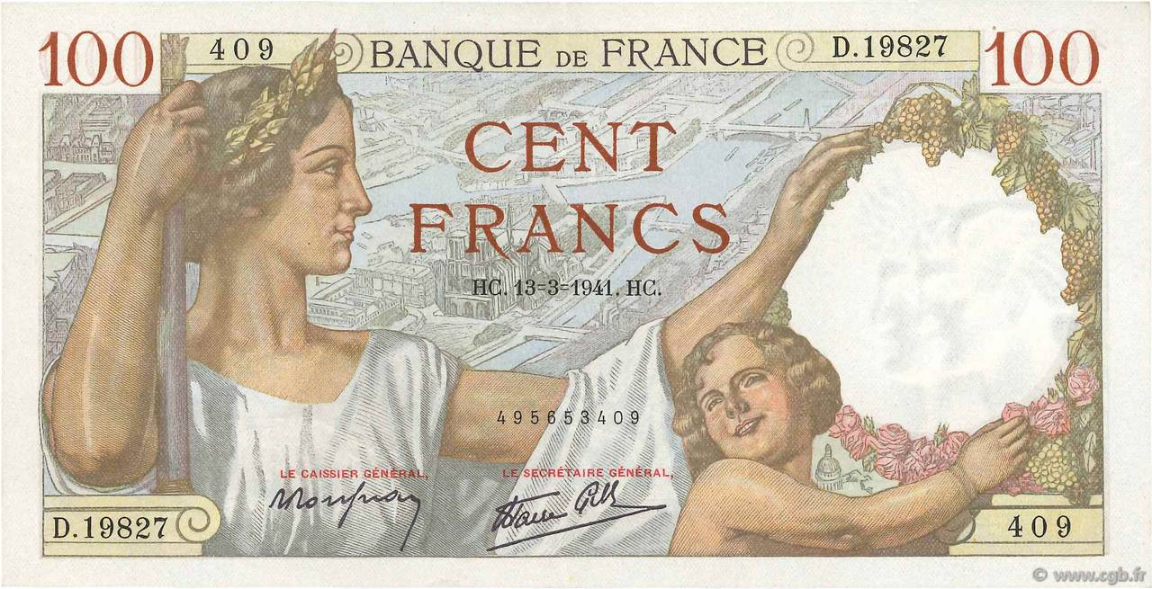 100 Francs SULLY FRANCE  1941 F.26.48 SPL
