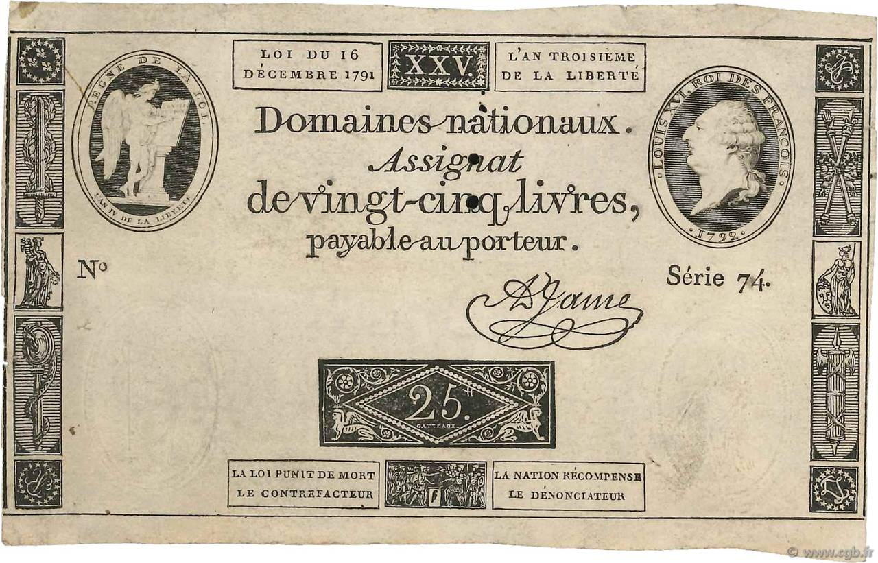 25 Livres FRANCE  1791 Ass.22a TB