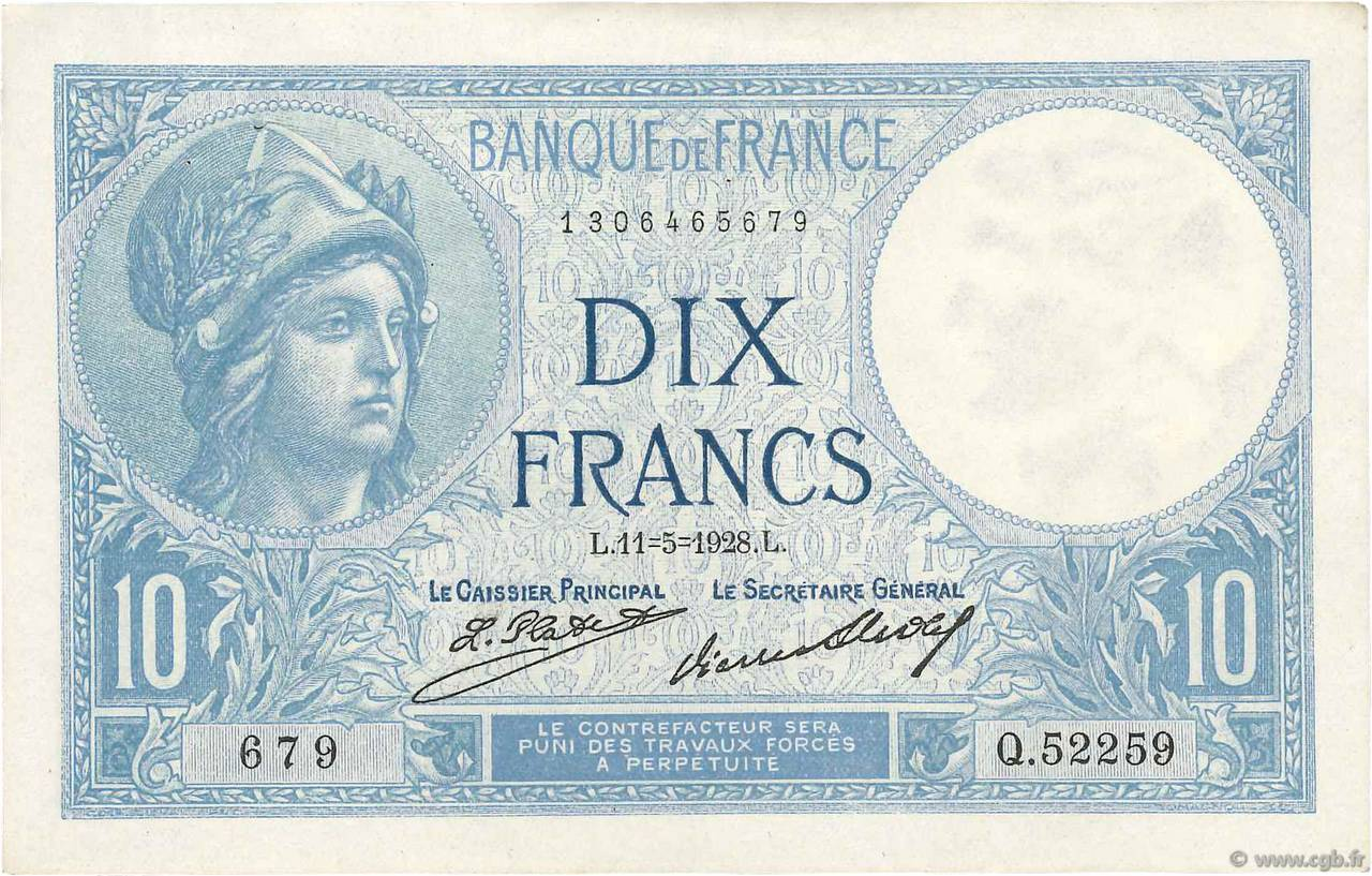 10 Francs MINERVE FRANCE  1928 F.06.13 SUP+