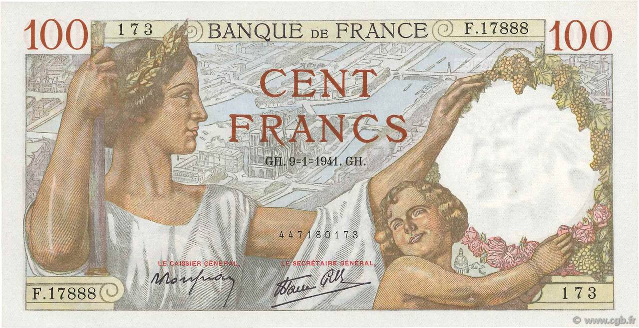 100 Francs SULLY FRANCE  1941 F.26.44 pr.NEUF