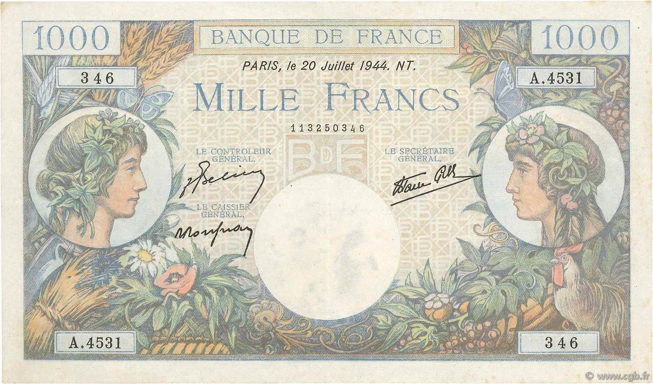 1000 Francs COMMERCE ET INDUSTRIE FRANCE  1944 F.39.12 TTB+
