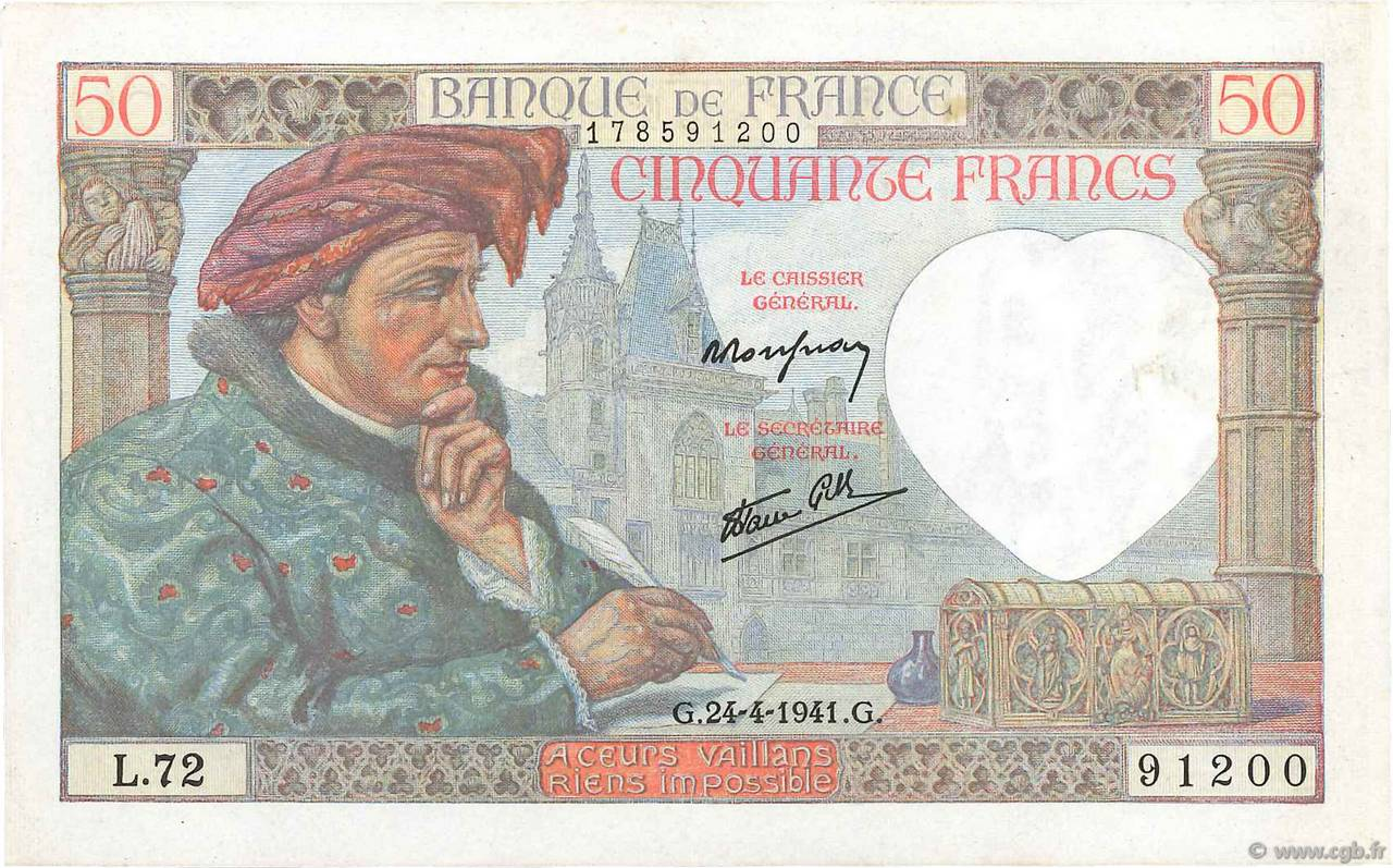 50 Francs JACQUES CŒUR FRANCE  1941 F.19.09 SUP+