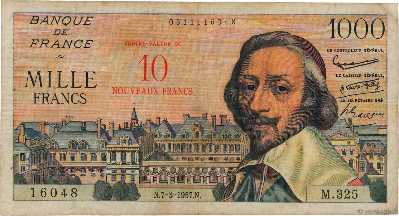 10 NF sur 1000 Francs RICHELIEU  FRANCE  1957 F.53.01 B+