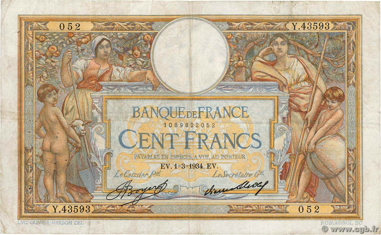 100 Francs LUC OLIVIER MERSON grands cartouches  FRANCE  1934 F.24.13 F