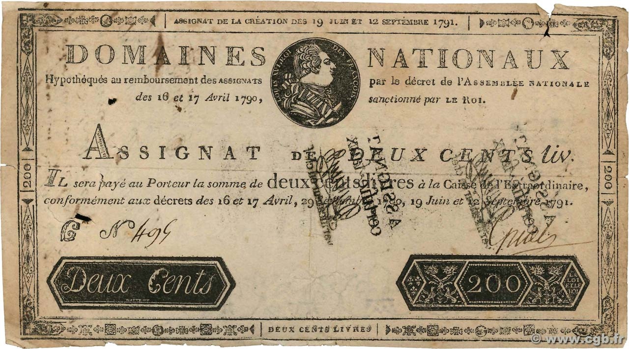 200 Livres Faux FRANCE  1791 Ass.17a B