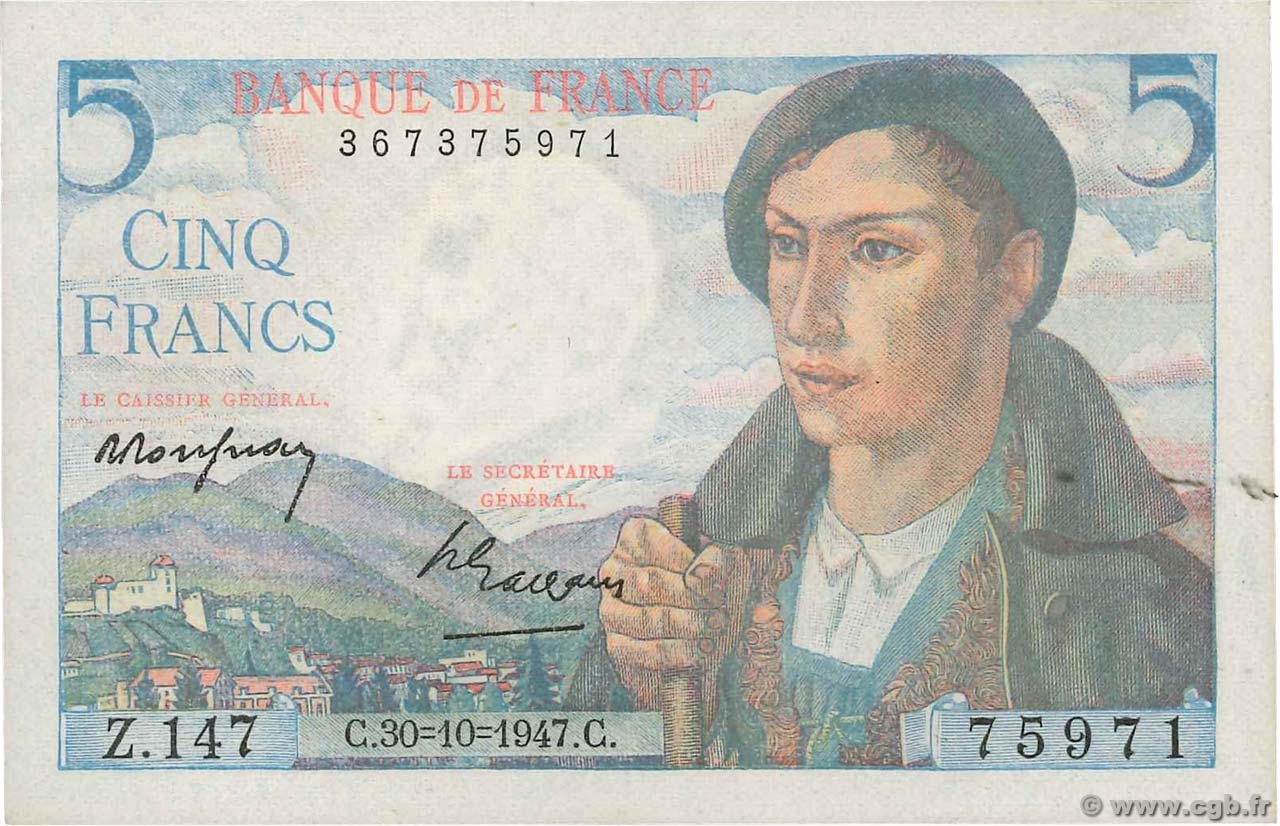5 Francs BERGER FRANCE  1947 F.05.07 pr.SUP