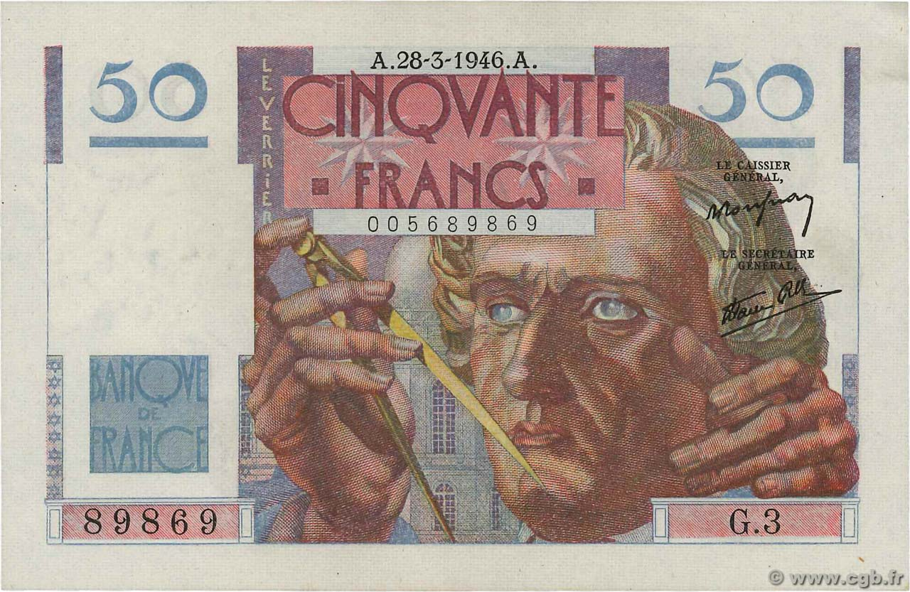 50 Francs LE VERRIER FRANCE  1946 F.20.02 SUP+