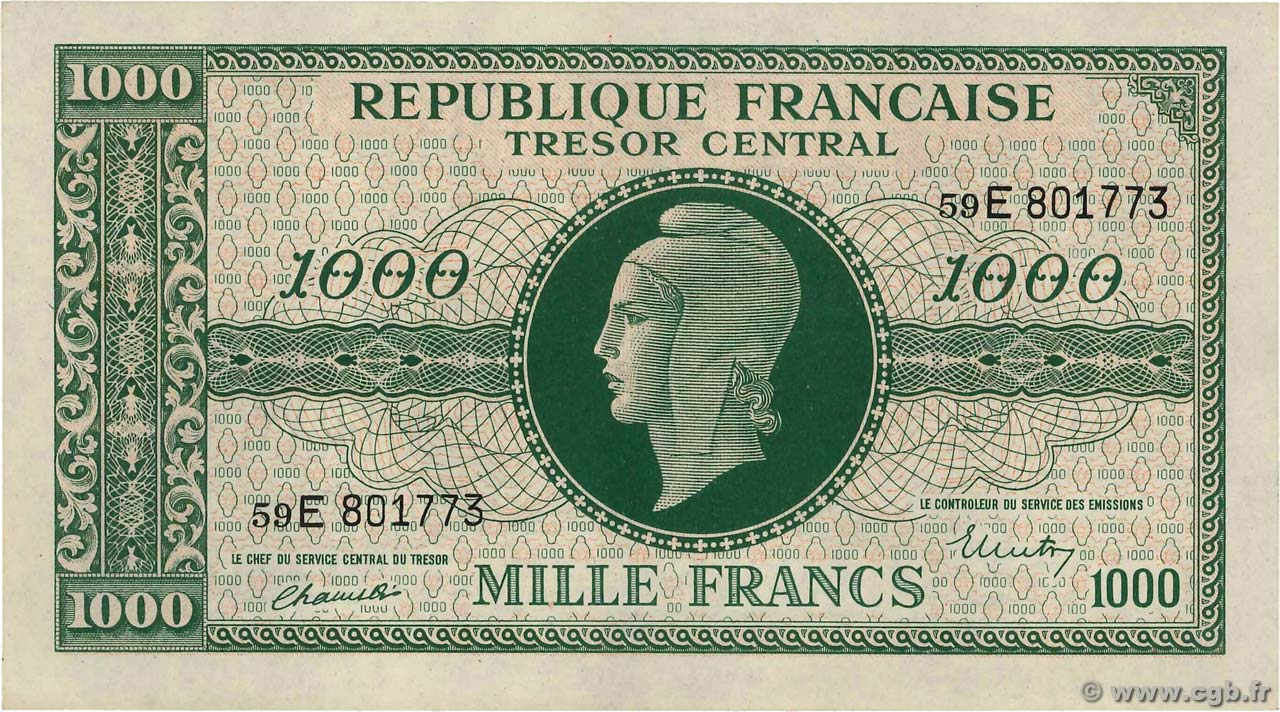 1000 Francs MARIANNE FRANCE  1945 VF.13.02 SUP+