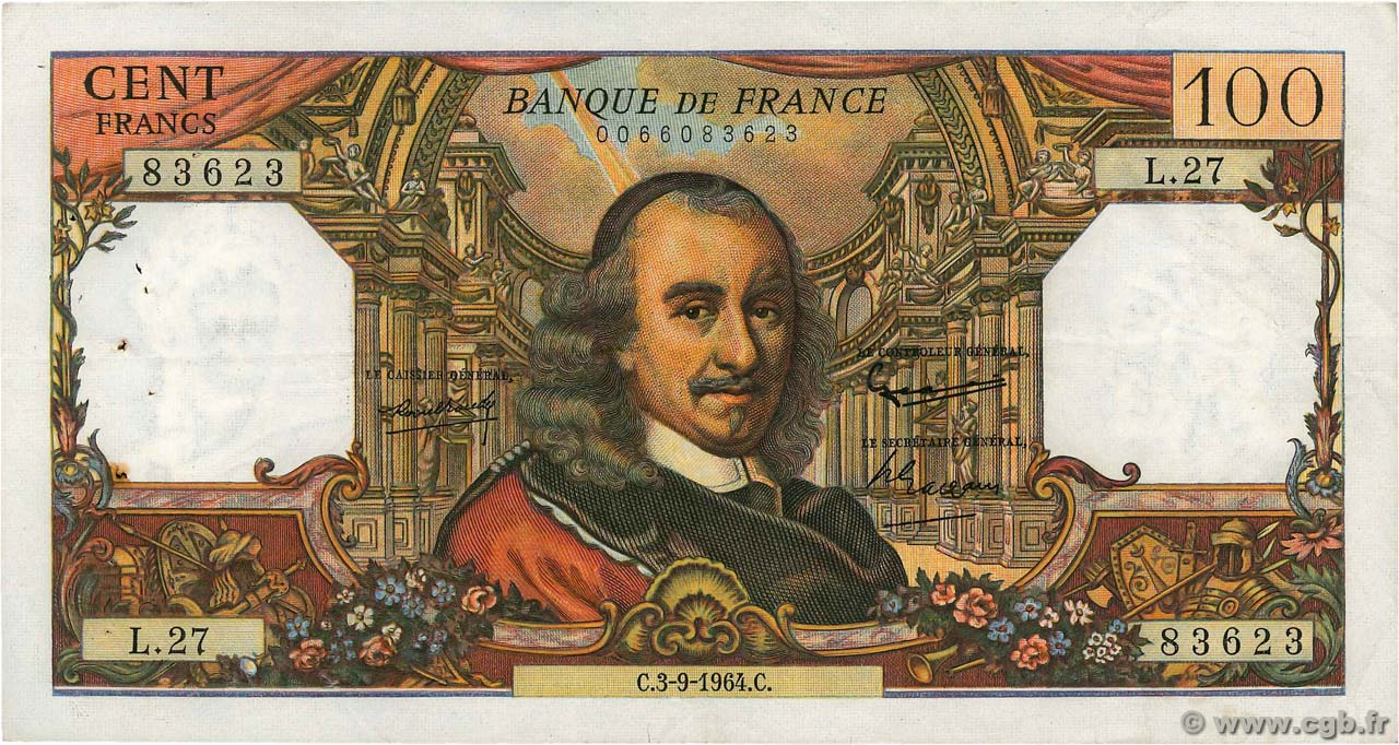 100 Francs CORNEILLE  FRANCE  1964 F.65.03 pr.TTB