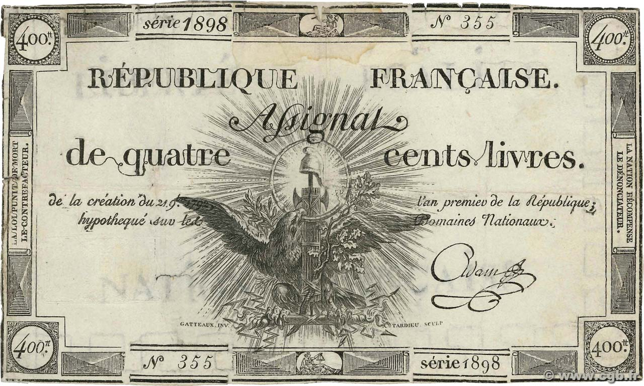 400 Livres FRANCE  1792 Ass.38a B+