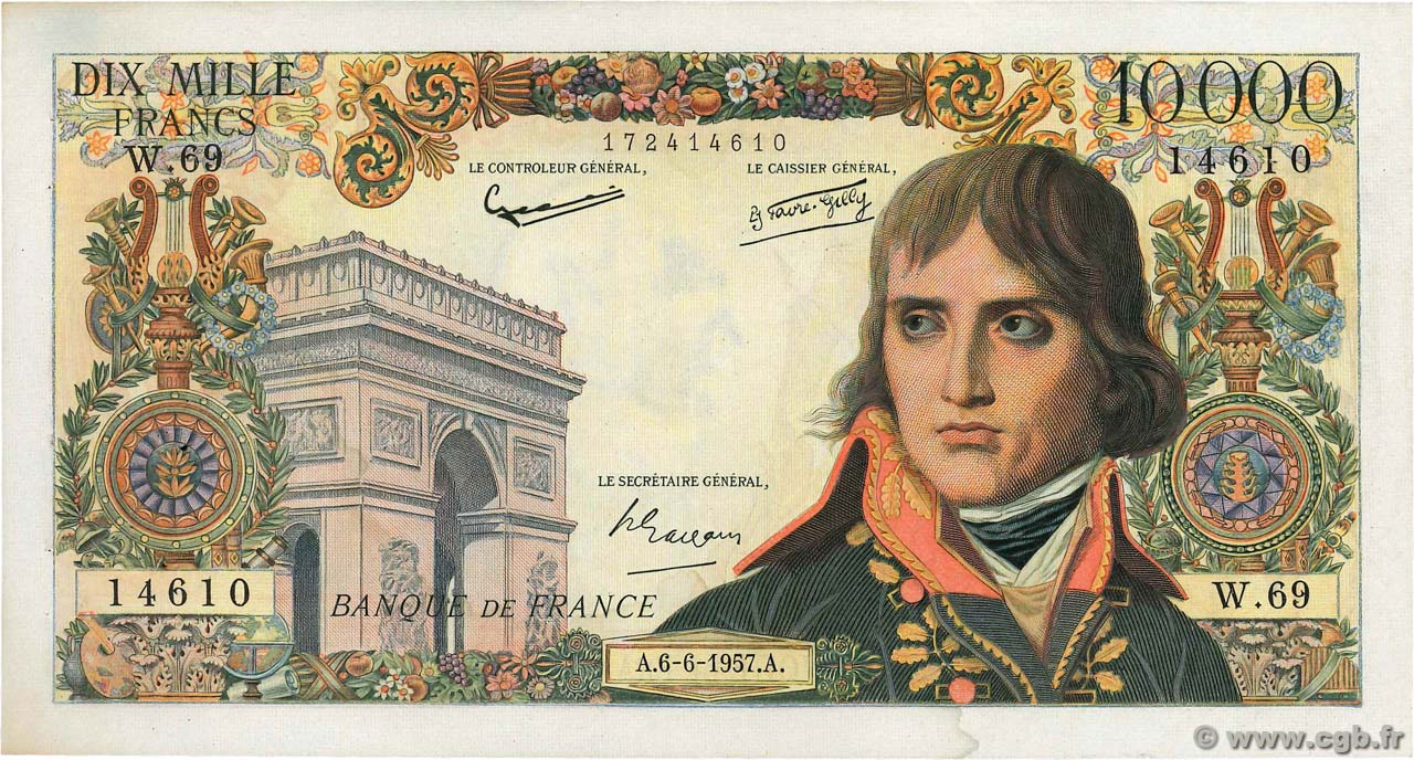 10000 Francs BONAPARTE FRANCE  1957 F.51.08 TTB