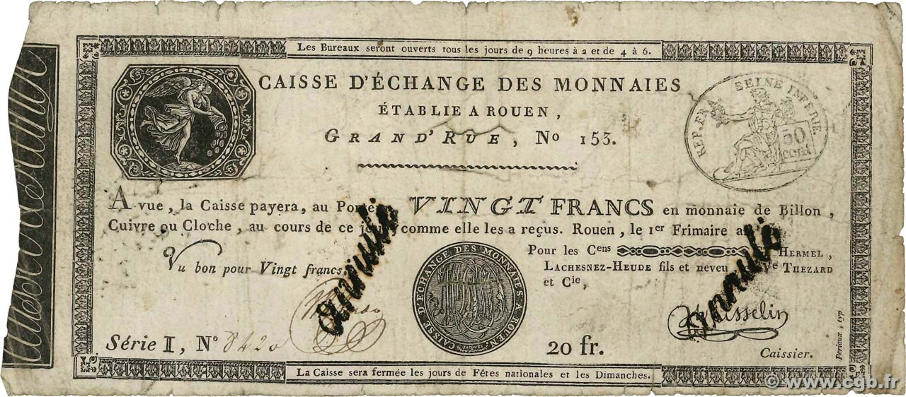 20 Francs Annulé FRANCE  1801 PS.245a B