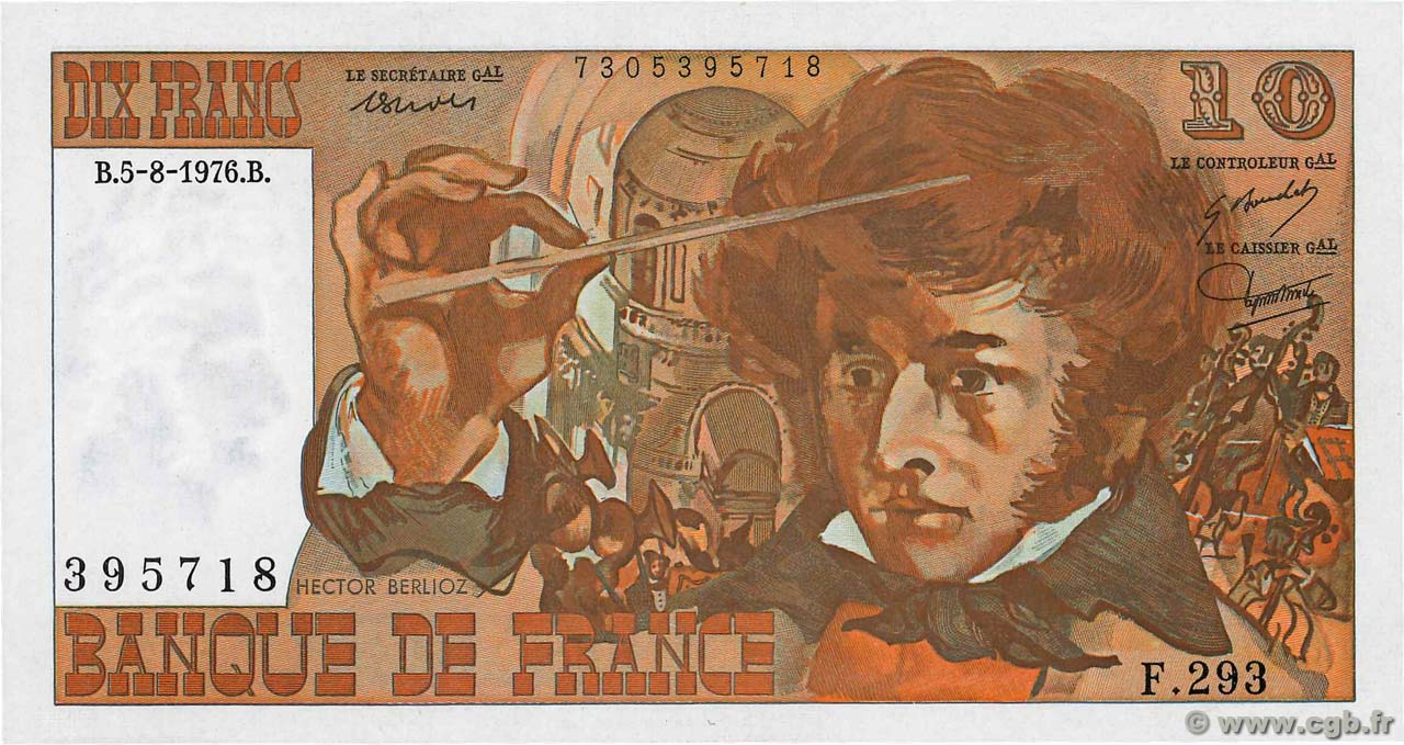 10 Francs BERLIOZ  FRANCE  1976 F.63.20 SPL