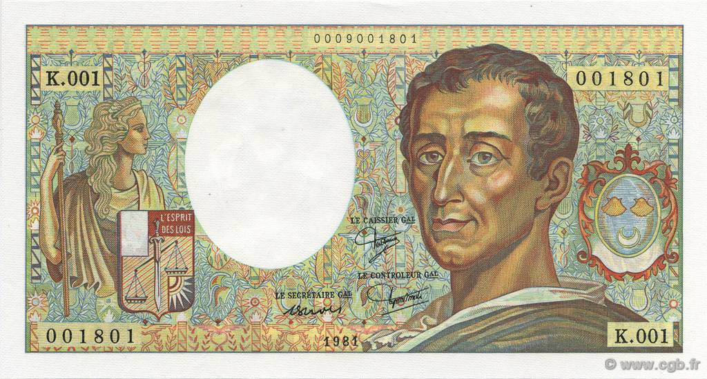 200 Francs Montesquieu FRANCE  1981 F.70.01 NEUF