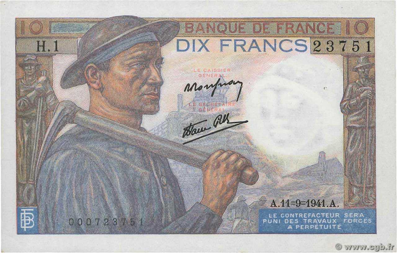 10 Francs MINEUR  FRANCE  1941 F.08.01 SUP+