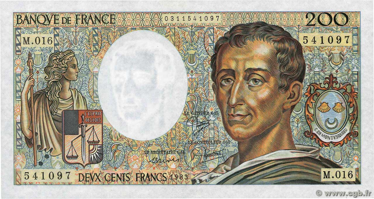 200 Francs MONTESQUIEU  FRANCE  1983 F.70.03 SPL+