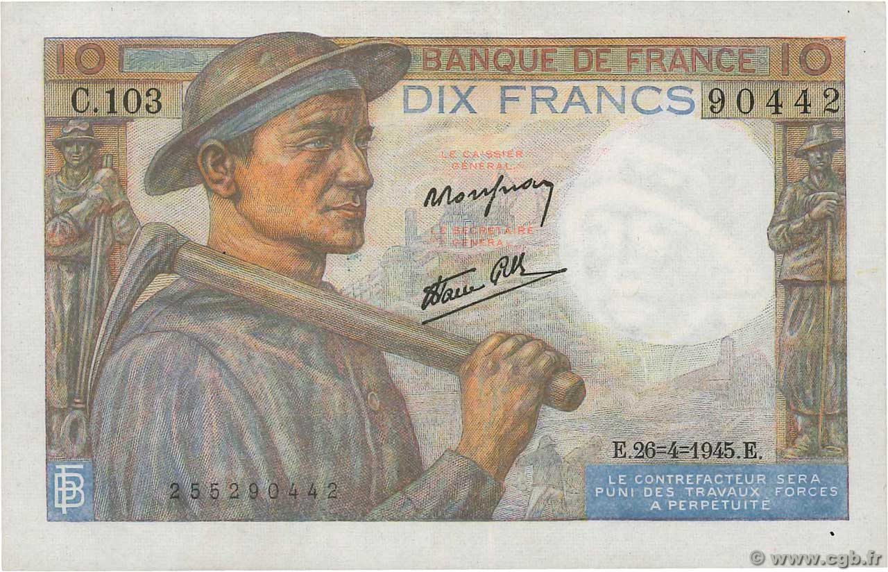 10 Francs MINEUR  FRANCE  1945 F.08.14 pr.SUP
