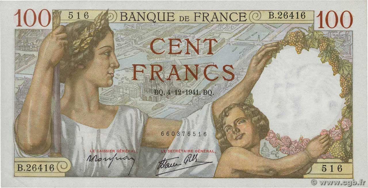 100 Francs SULLY  FRANCE  1941 F.26.62 XF+