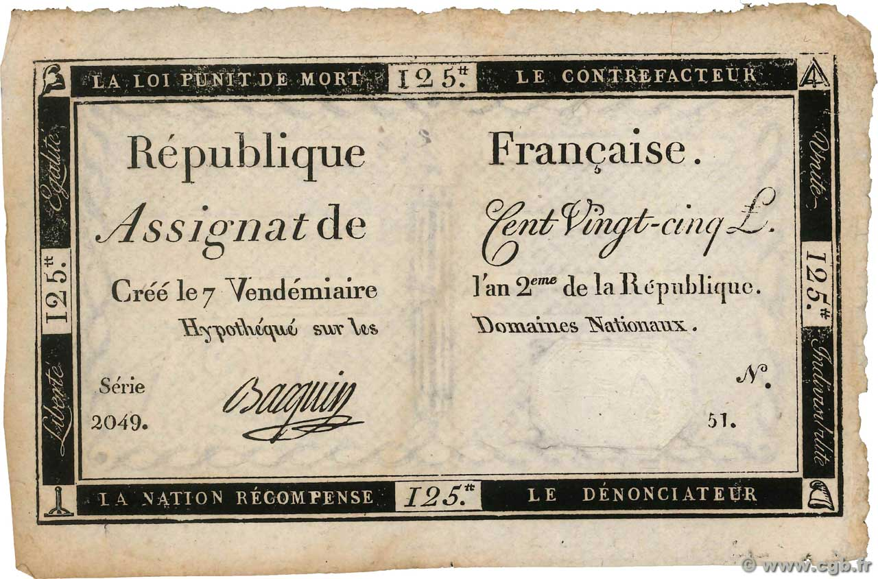125 Livres  FRANCE  1793 Ass.44a TTB+
