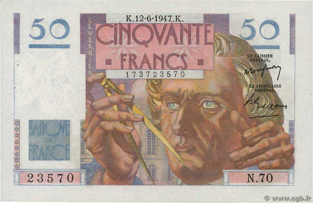 50 Francs LE VERRIER  FRANCE  1947 F.20.08 SPL