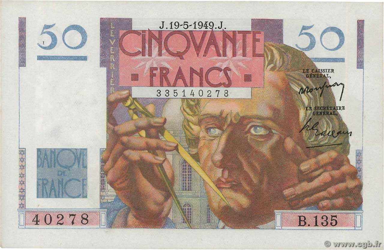 50 Francs LE VERRIER  FRANCE  1949 F.20.12 SUP+