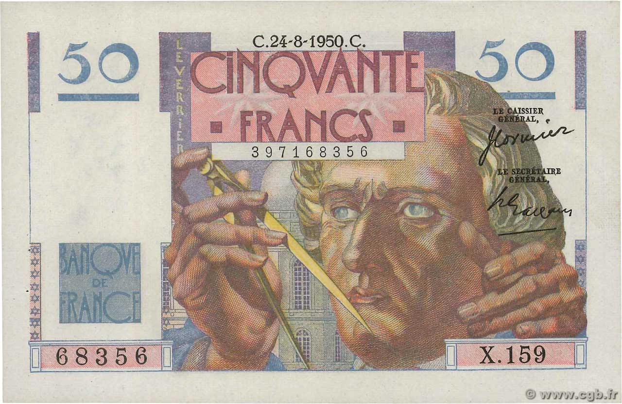 50 Francs LE VERRIER  FRANCE  1950 F.20.16 SUP+