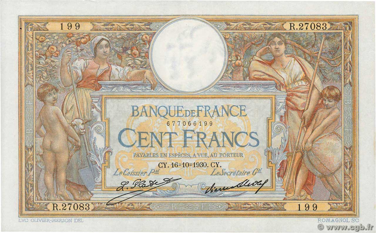 100 Francs LUC OLIVIER MERSON grands cartouches  FRANCE  1930 F.24.09 SUP+