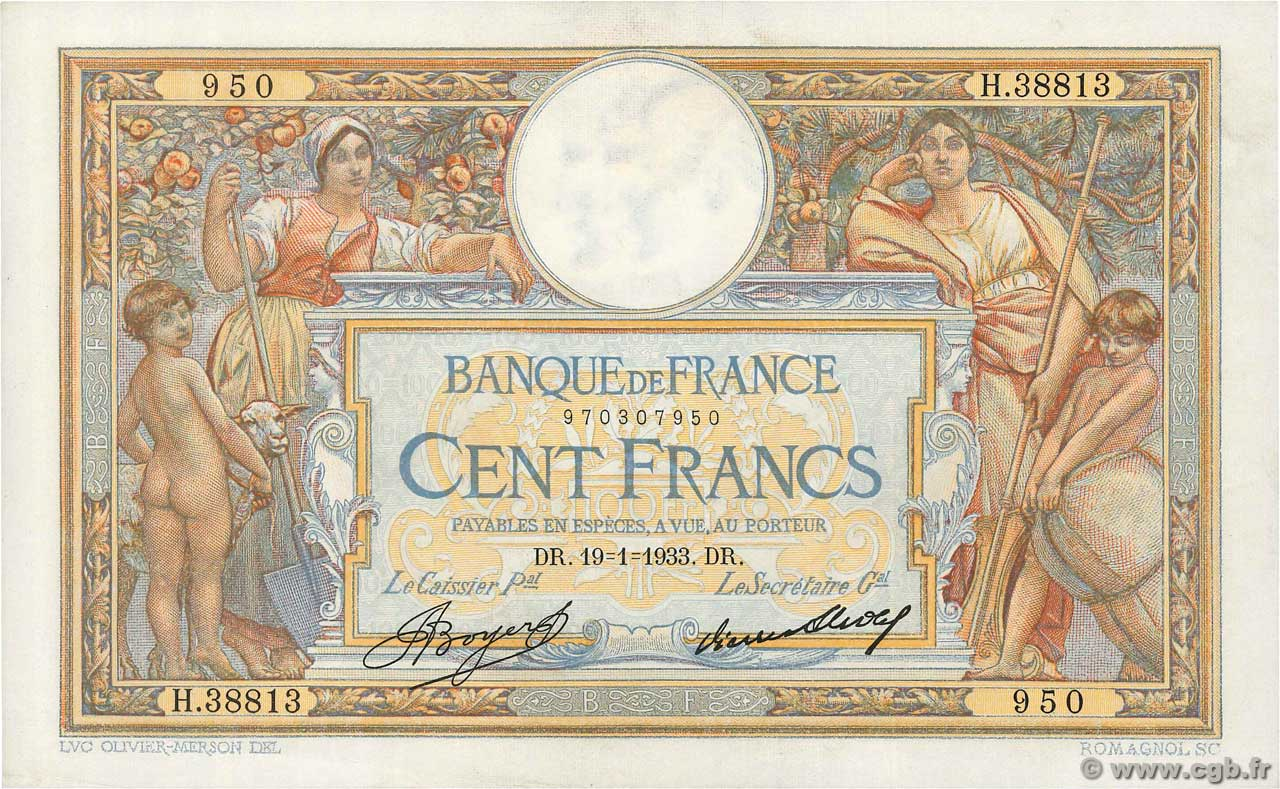 100 Francs LUC OLIVIER MERSON grands cartouches  FRANCE  1933 F.24.12 SPL