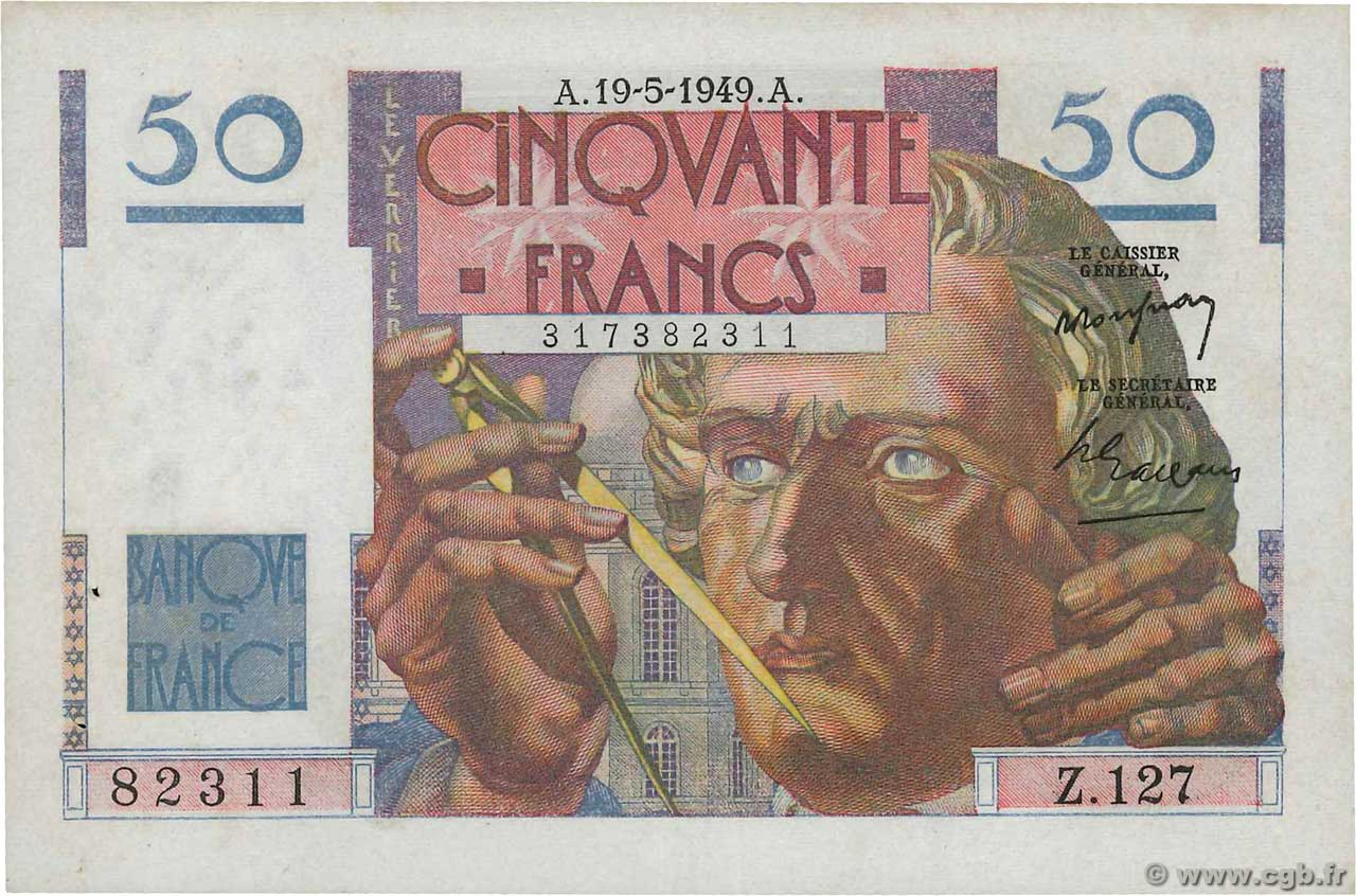 50 Francs LE VERRIER  FRANCE  1949 F.20.12 pr.SUP