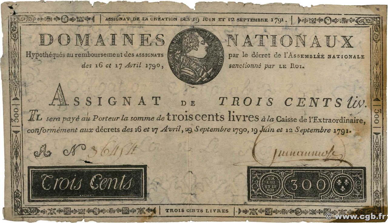 300 Livres Faux FRANCE  1791 Ass.18x B