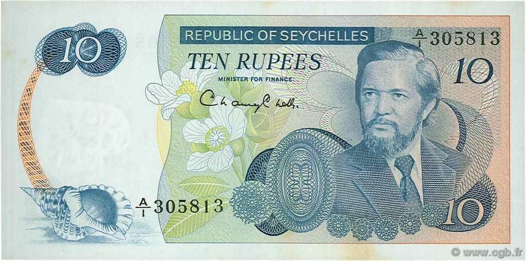 10 Rupees SEYCHELLES  1976 P.19a SUP