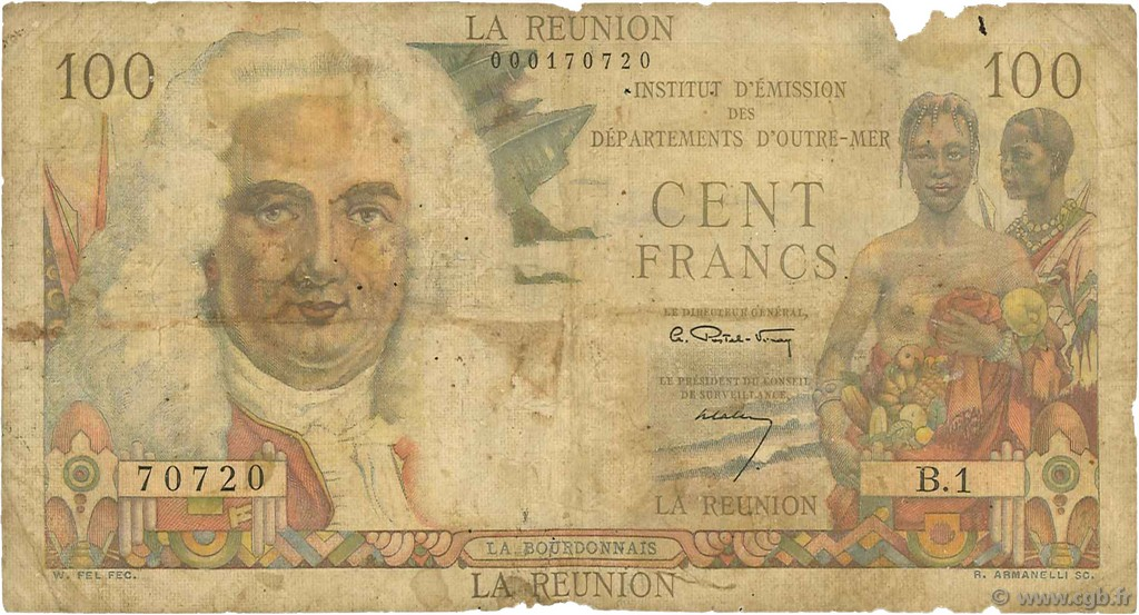 100 francs la bourdonnais le de la r union 1960 b97 2149 billets. Black Bedroom Furniture Sets. Home Design Ideas