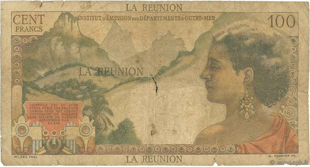 100 francs la bourdonnais le de la r union 1960 ab b97 2150 billets. Black Bedroom Furniture Sets. Home Design Ideas