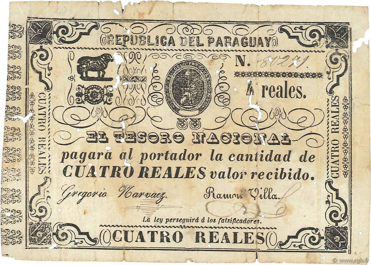 4 Reales PARAGUAY  1865 P.020 AB