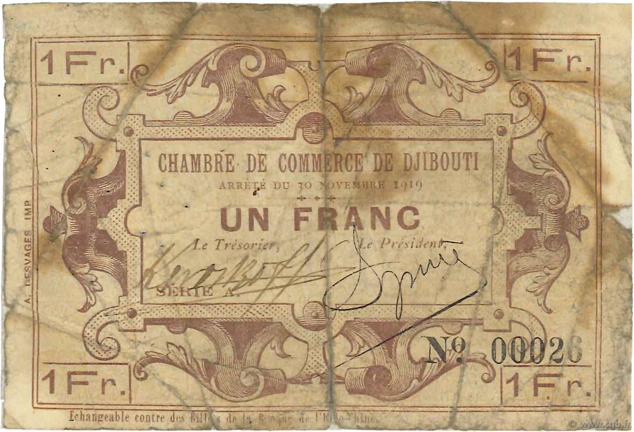 1 franc djibouti 1919 b97 3176 banknotes for Chambre de commerce djibouti