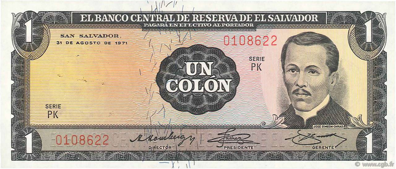 1 Colon  SALVADOR  1971 P.115a NEUF