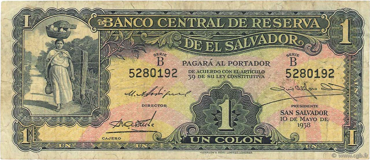 1 Colon SALVADOR  1938 P.081 TB