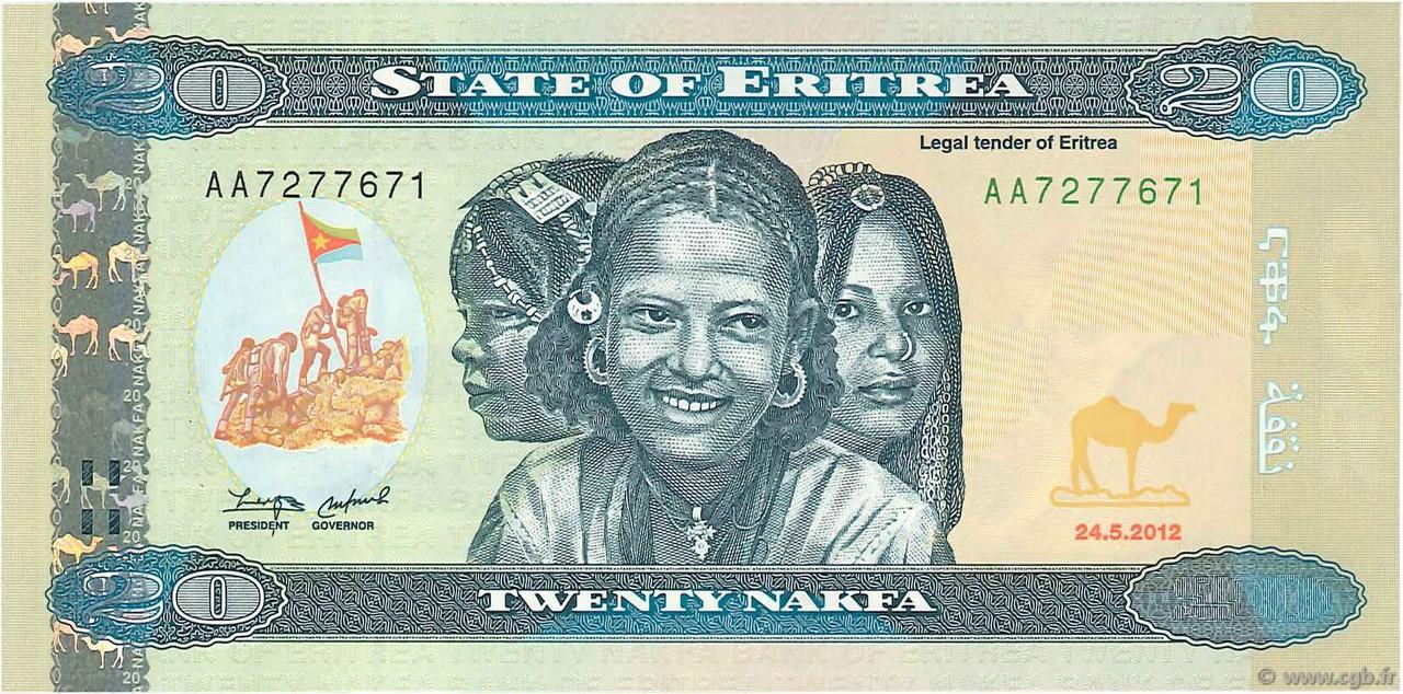 2012 P-12 Banknote Unc Eritrea 20 Nakfa